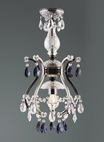 Kleine kroonluchter met grijs gekleurd kristal