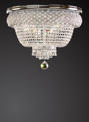 Kristallen Plafonnière met nikkel frame