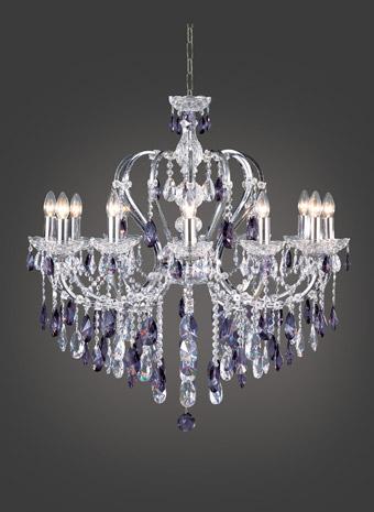 Kristallen kroonluchter paars kristal