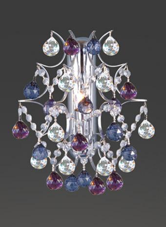 Kristallen wandlamp gekleurd kristal