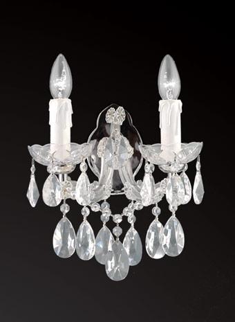 Kristallen wandlamp nikkel
