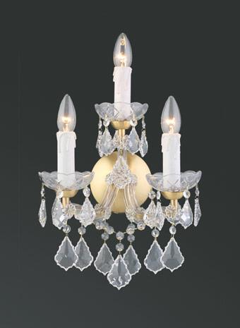 Kristallen wandlamp goud