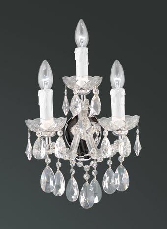 Kristallen wandlamp drie armen