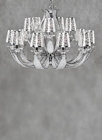 Moderne kroonluchter 15 armen + kapjes